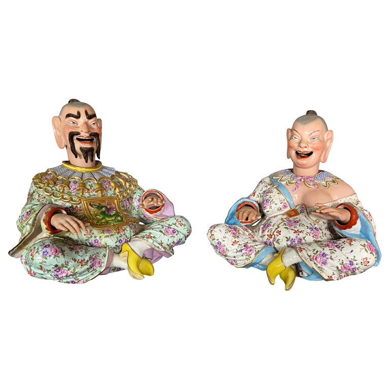 "Pair of German Chinoiserie Porcelain Figures of Seated ""Nodders"" For Sale"