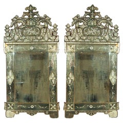 Pair of German Clear Center Venetian Style Mirrors