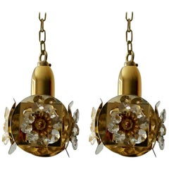 Pair of German Crystal Glass and Gold Brass Chandeliers Pendants by Palwa, 1960s