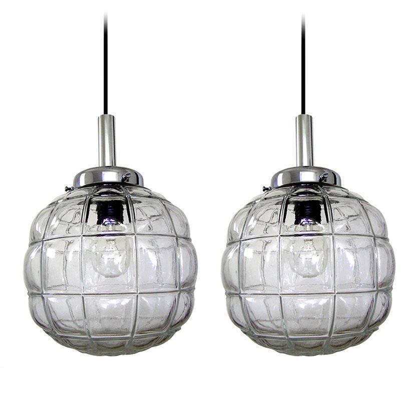 Pair of German Vintage Glass Pendants Ceiling Lamps by Limburg, 1960s
