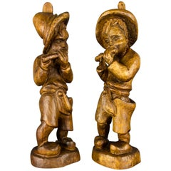Pair of German Hand Carved Wood Figurative Sculptures of Two Boys Musicians