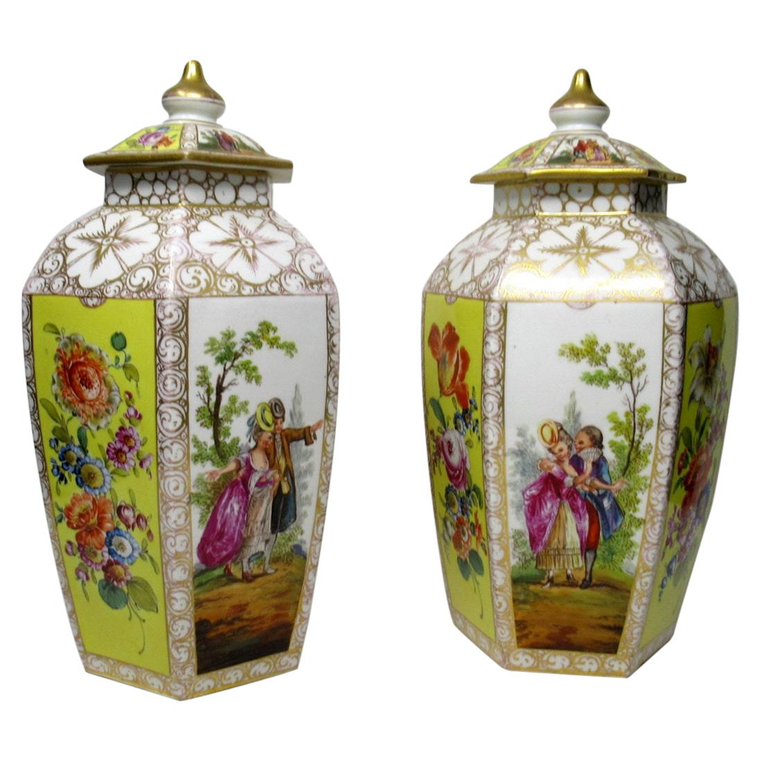 Pair of German Helena Wolfson Dresden Hand Painted Vases Yellow Floral
