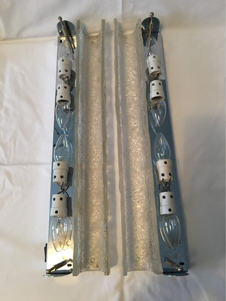 Pair of German Ice Glass Hillebrand Vanity Sconces For Sale 7