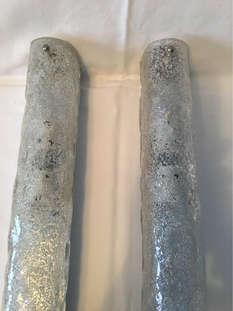 Late 20th Century Pair of German Ice Glass Hillebrand Vanity Sconces For Sale