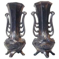 Pair of German Jugend Pewter Vases, 1910s