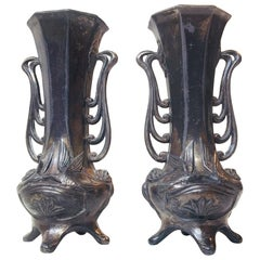 Pair of German Jugendstil Pewter Vases, 1910s
