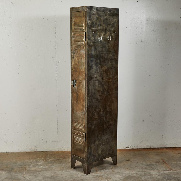 Pair of German Metal Lockers, circa 1940 In Good Condition For Sale In Los Angeles, CA