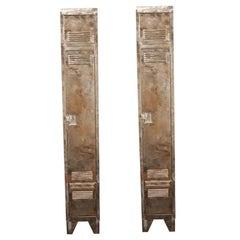 Pair of German Industrial Metal Lockers, circa 1940