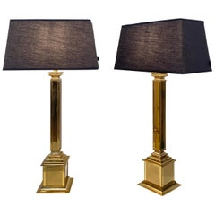 Pair of German Midcentury Gilded Brass Table Lamps with Black Lamp Shades, 1970