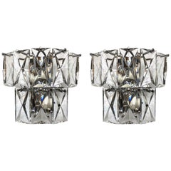 Pair of German Midcentury Glass Wall Sconces by Kinkeldey, 1970s