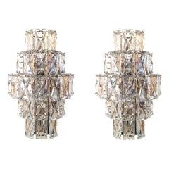 Pair of German Midcentury Huge Crystal Wall Sconces by Kinkeldey, 1960s