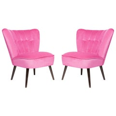 Pair of German Midcentury Pink Velvet Club Armchairs, 1960s