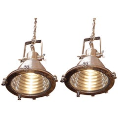 Pair of German Nautical Aluminum Hanging Ship Lights, Wiska Co, 20th Century
