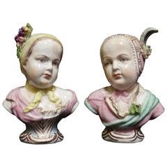 Pair of German Porcelain Bust of Babies