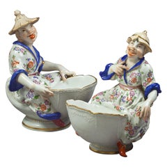Pair of German Porcelain Figural Coupes, Meissen, circa 1920