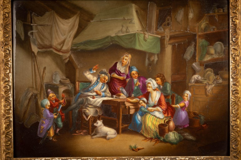 Depicting a group of figures around a table with a loaf of bread, one mustachioed figure gesturing with his sword on the table and two children on his side playing with another sword along with various other figures with diverse pursuits. The
