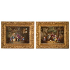 Pair of German Porcelain Interior Family Scenes Framed Plaques, circa 1880