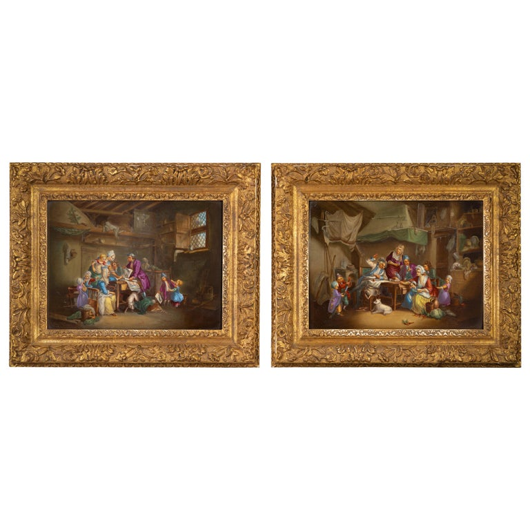 Pair of German Porcelain Interior Family Scenes Framed Plaques, circa 1880 For Sale