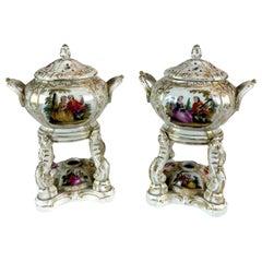 Pair of German Porcelain Perfume Burners by KPM Berlin 1820 Watteau Decoration