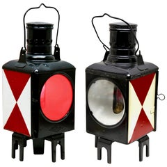 Pair of German Railway Lanterns by Osmeka Osnabruch