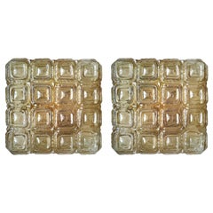 Pair of German Vintage Amber Glass Ceiling or Wall Lights Flush Mounts, 1960s