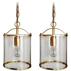 Pair of German Vintage Glass and Brass Pendants Ceiling Lights, 1960s