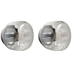 Pair of German Vintage Glass Ceiling or Wall Lights Flush Mounts, 1960s