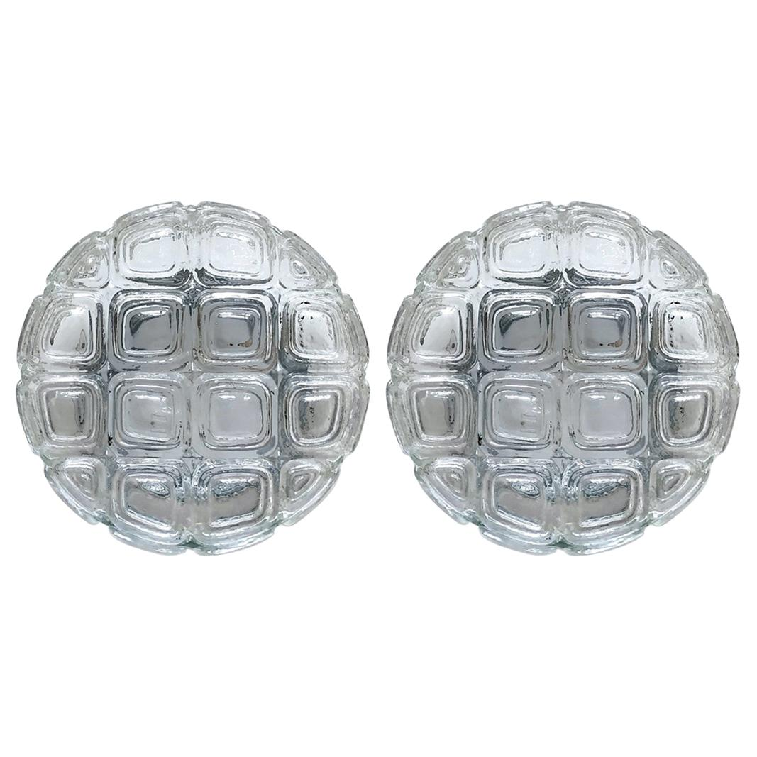 Pair of German Vintage Glass Ceiling or Wall Lights Flushmounts, 1960s
