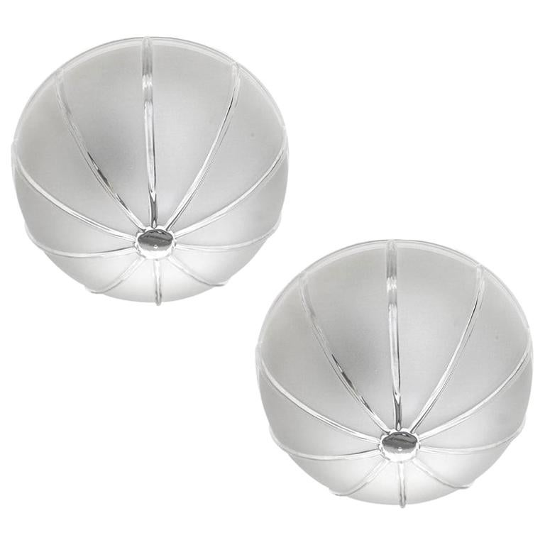 Pair of German Vintage Glass Wall Ceiling Lights Flushmounts, 1970s