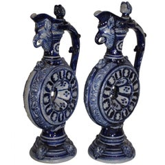 Pair of German Westerwald Salt Glazed Circular Ewers