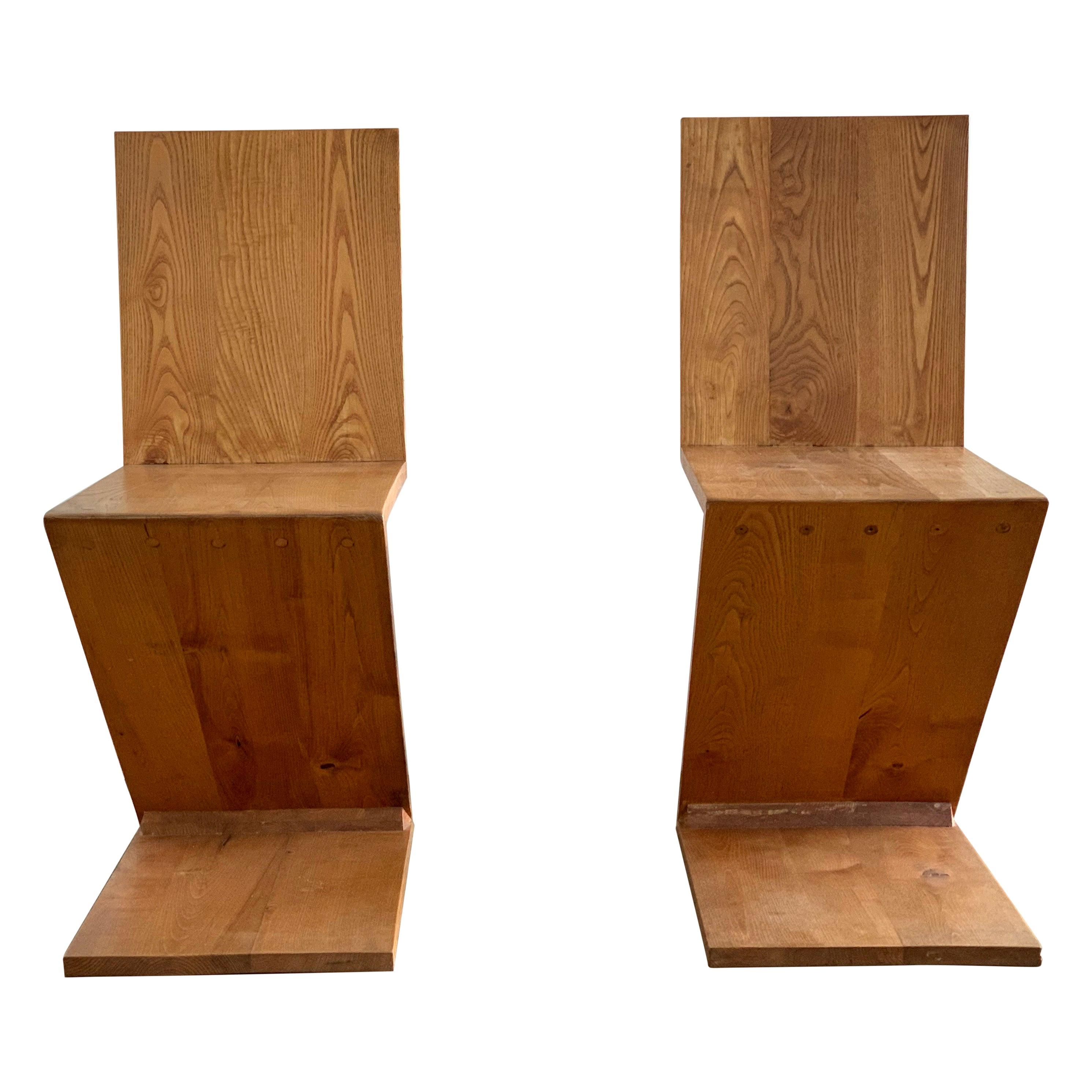 Pair of Gerrit Rietveld Zig Zag Chairs, 1960s