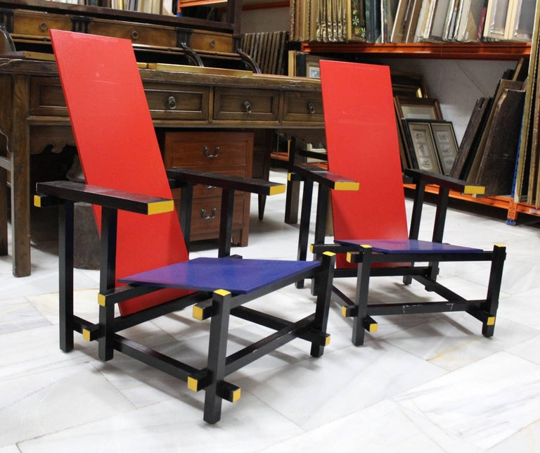 Dutch Pair of Gerrit Thomas Rietveld Red Blue Chair Replicas For Sale