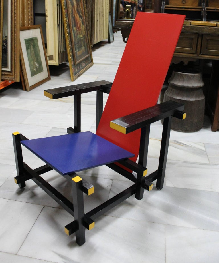 Wood Pair of Gerrit Thomas Rietveld Red Blue Chair Replicas For Sale
