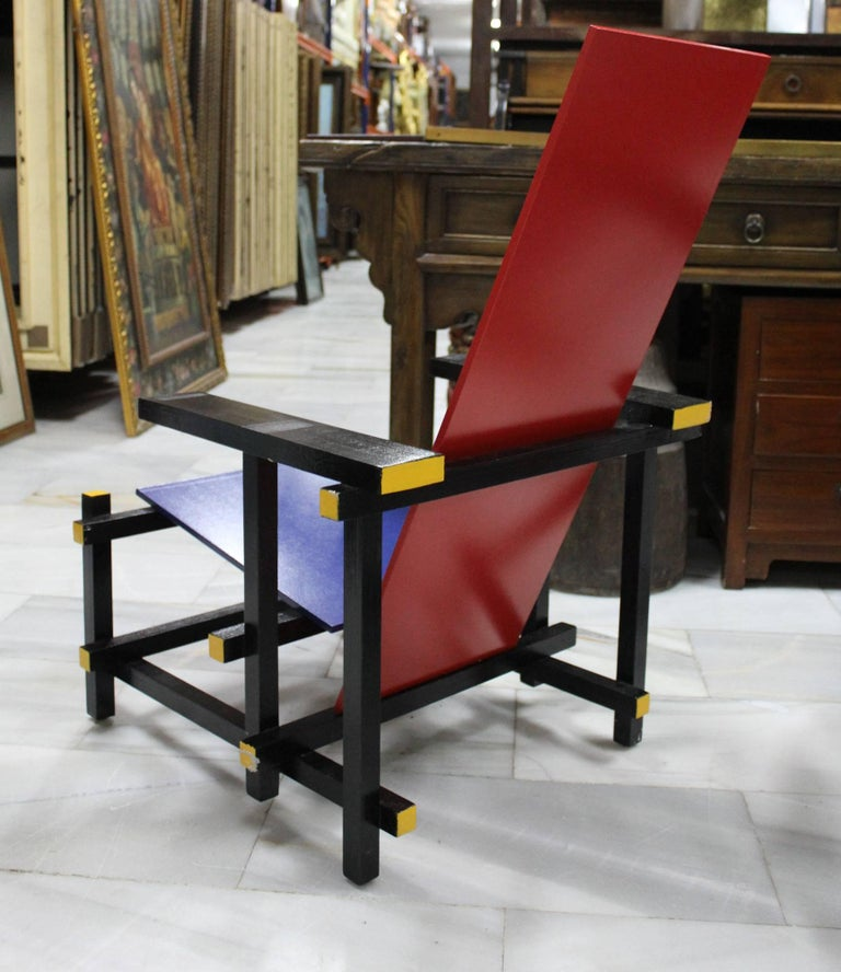 Pair of Gerrit Thomas Rietveld Red Blue Chair Replicas For Sale 2