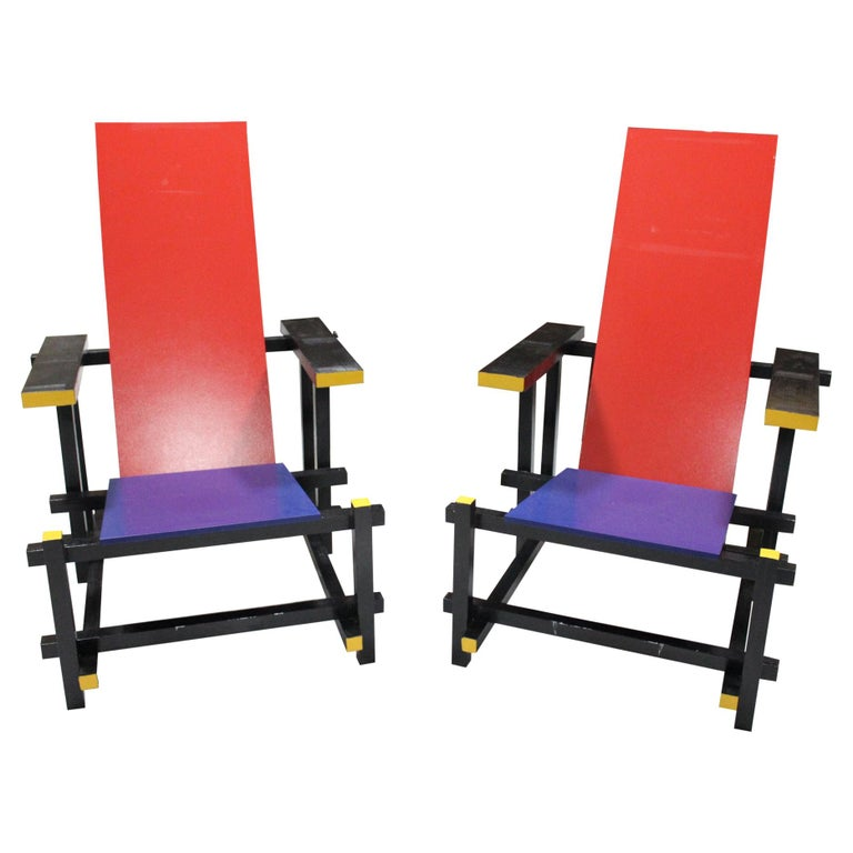 Pair of Gerrit Thomas Rietveld Red Blue Chair Replicas For Sale
