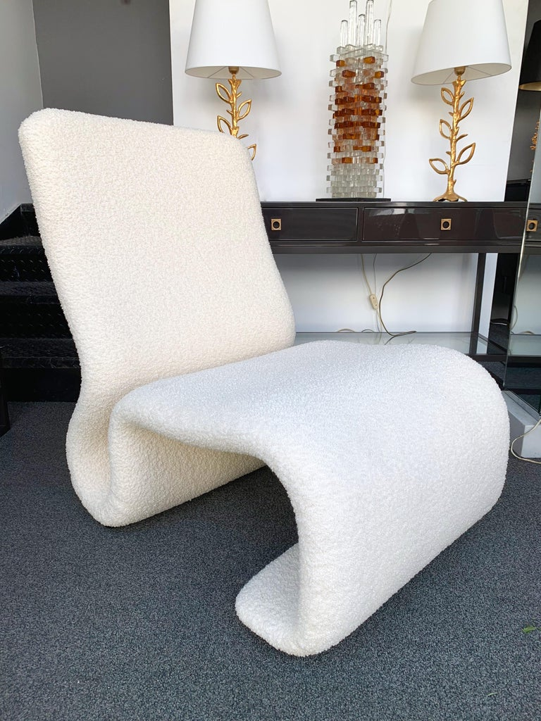 Pair of Ghost armchairs, fully upholstered new foam and fabric by Bisson Bruneel.