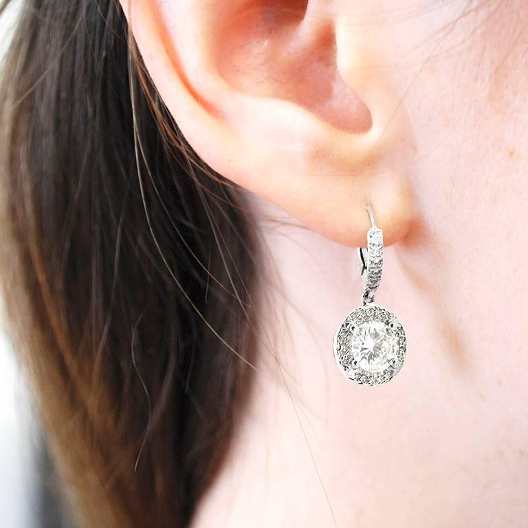 Total Carat Weight Diamond Earrings For This Pair Of Lever Back Is Set On 18kt White Gold With 0 28
