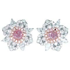 Pair of GIA Fancy Pink Diamond Ear Stud
