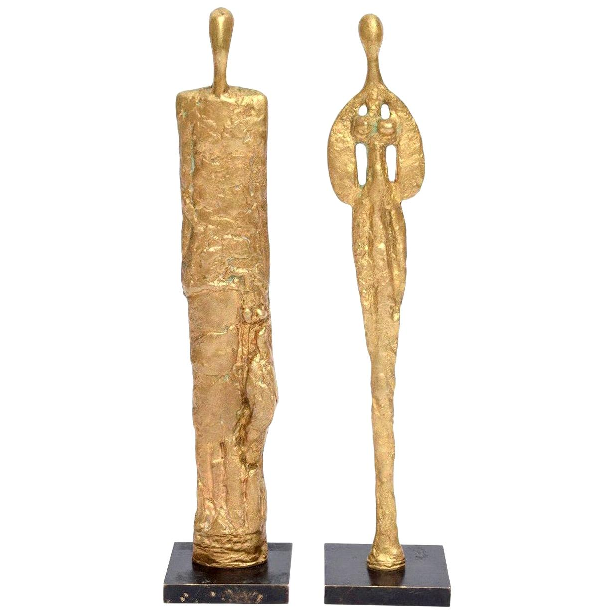 Pair of Giacometti Style Bronze Sculptures Mid-Century Modern