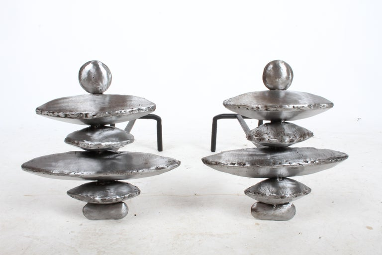 Steel Pair of Giacometti Style Sculptural Andirons For Sale