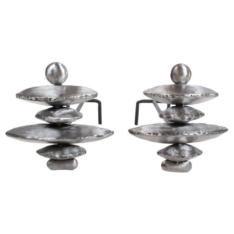 Pair of Giacometti Style Sculptural Andirons For Sale