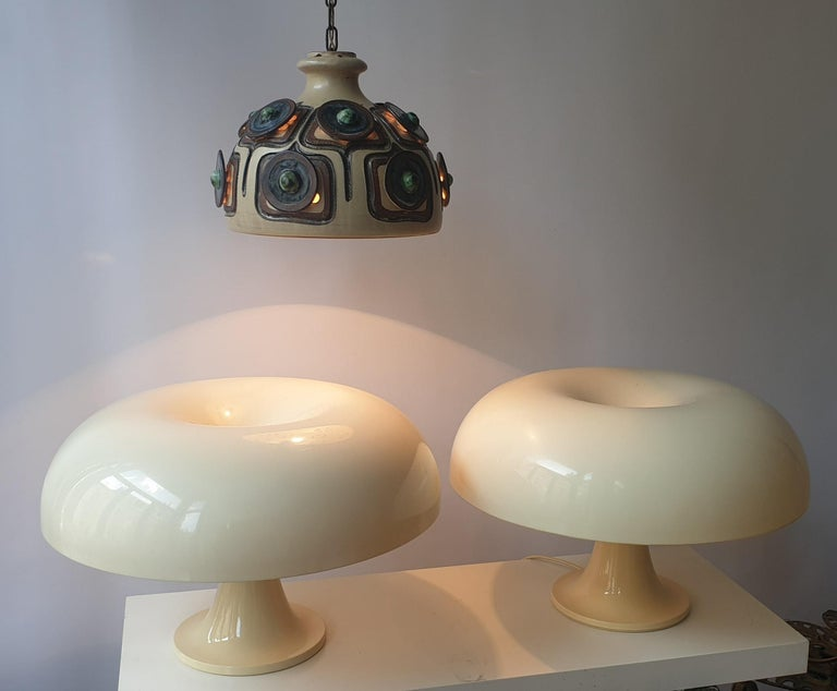 Pair of Italian Giancarlo Mattioli Nesso table lamps by Artemide.