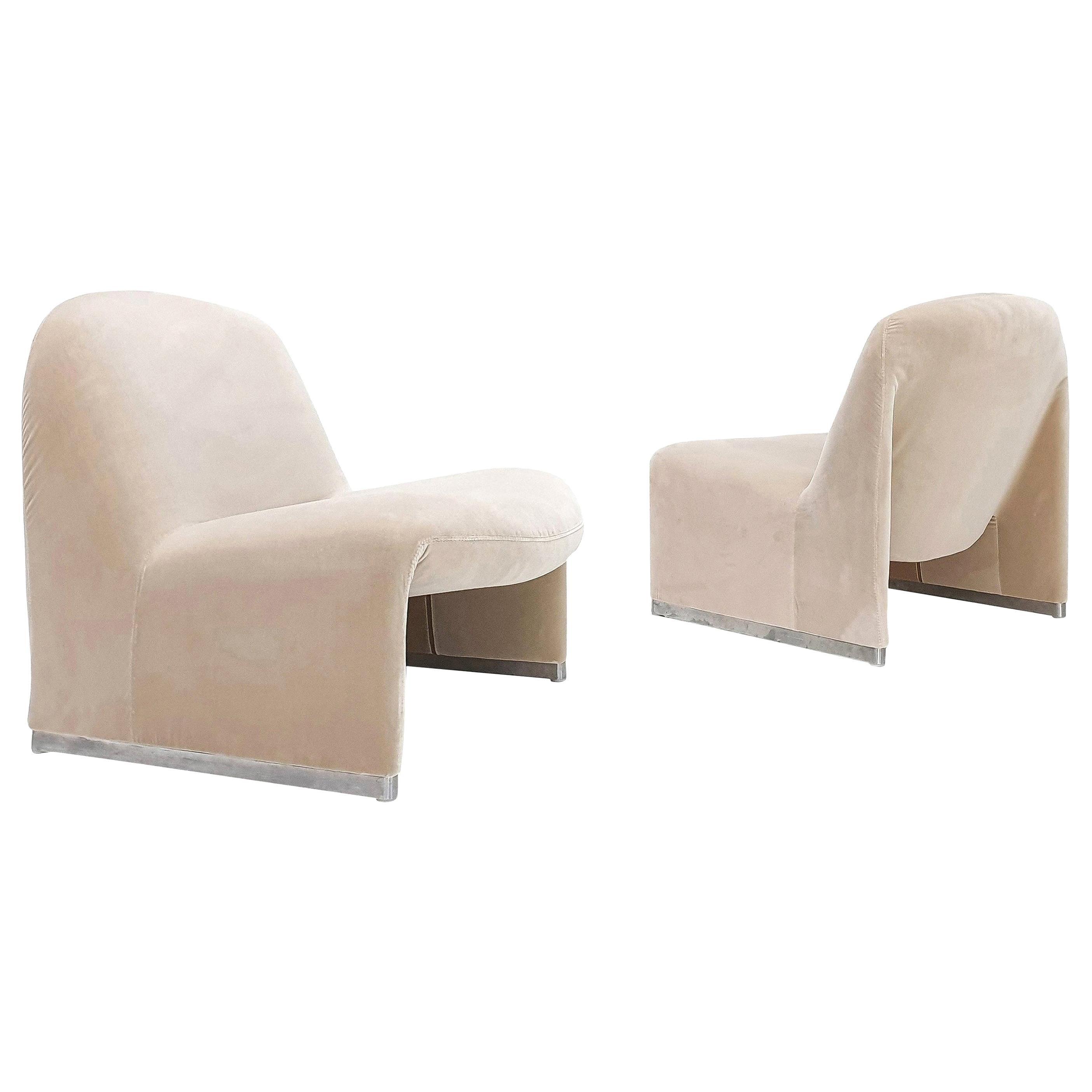 "Pair of Giancarlo Piretti ""Alky"" Chairs in New Velvet, Artifort, 1970s"