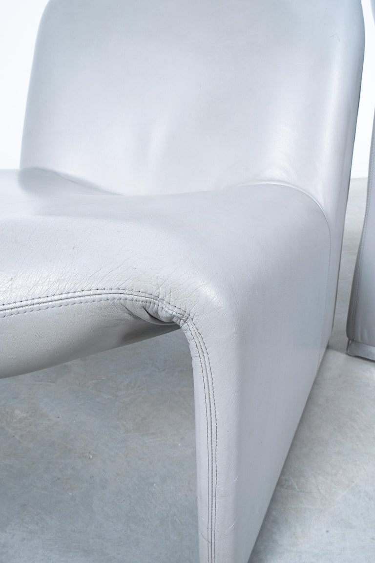 """Pair of Giancarlo Piretti """"Alky"""" Grey Leather Chairs, Castelli, 1969 For Sale 1"""