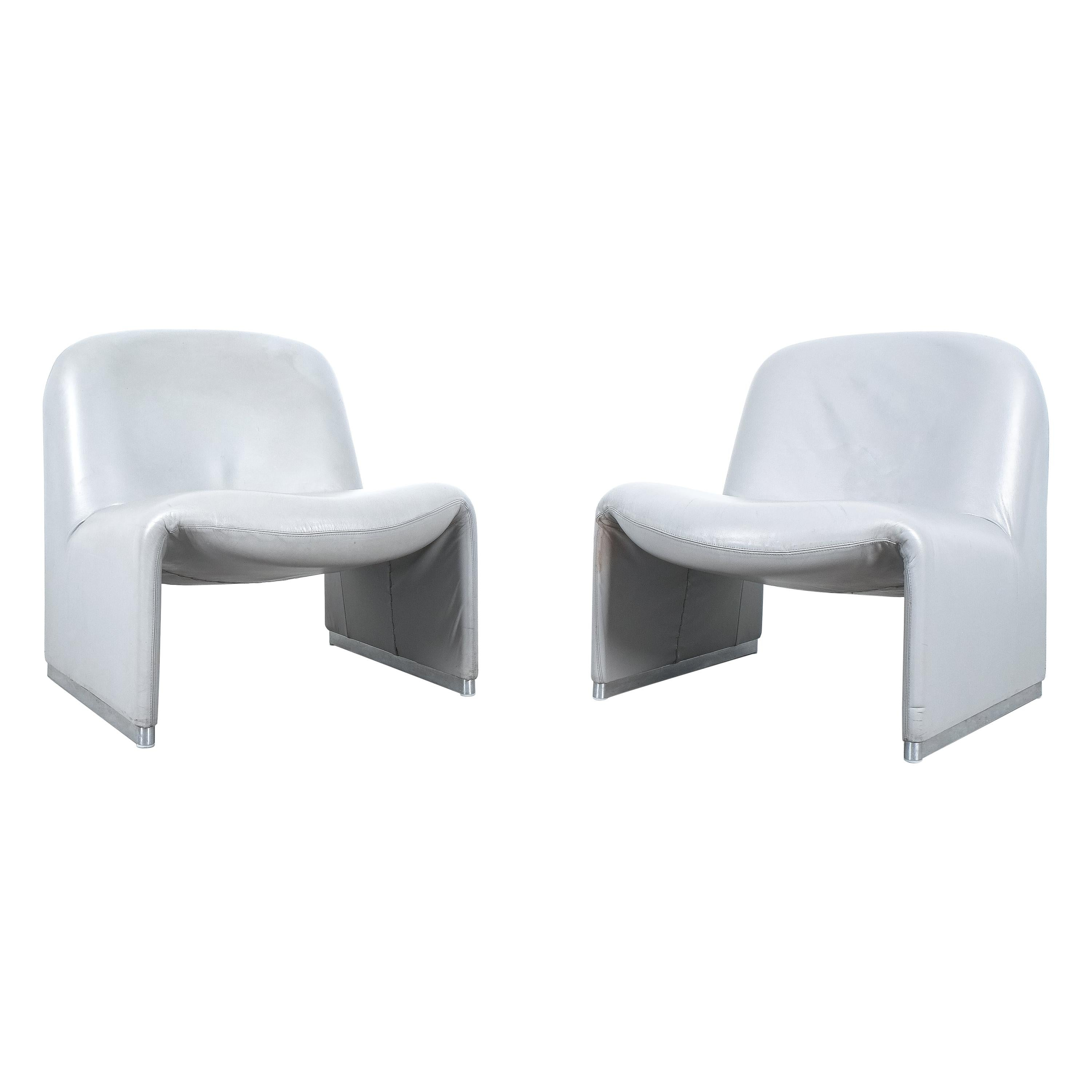 """Pair of Giancarlo Piretti """"Alky"""" Grey Leather Chairs, Castelli, 1969"""
