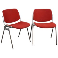 Pair of Giancarlo Piretti Red Fabric DSC 106 Italian Chairs for Castelli, 1960s