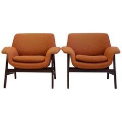 Pair of Gianfranco Frattini for Cassina Model 849 Walnut and Fabric Armchairs