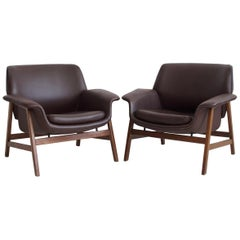 Pair of Gianfranco Frattini Model 849 Brown Armchairs