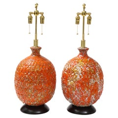 Pair of Giant Italian Volcanic Glazed Ceramic Lamps