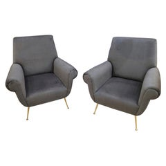 Pair of Gigi Radice Lounge Chairs in Charcoal Gray Mohair